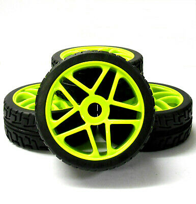 180095 1/8 Scale On Road Nitro Buggy RC Star Wheels And Tyres Light Green X 4 • 20.99£