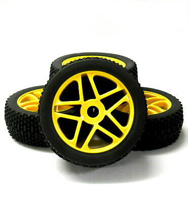180098 1/8 Scale Off Road Buggy RC Star Wheels And Tyres Yellow X 4 • 20.99£
