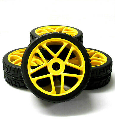 180099 1/8 Scale On Road Nitro Buggy RC Star Wheels And Tyres Yellow X 4 • 20.99£