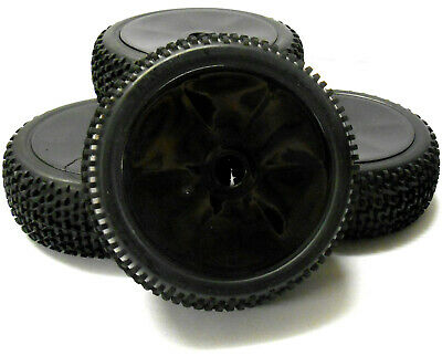 180101 1/8 Scale Off Road Nitro Buggy RC Wheels And Tyres Disc Black X 4 • 20.99£