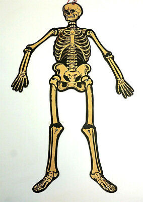 $ CDN19.44 • Buy H E LUHRS 23  Jointed Skeleton Die Cut Halloween Decoration Vintage 1940's (n2)