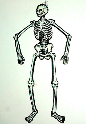 $ CDN14.04 • Buy BEISTLE 22  Jointed Skeleton Die Cut Halloween Decoration Vintage 1950's