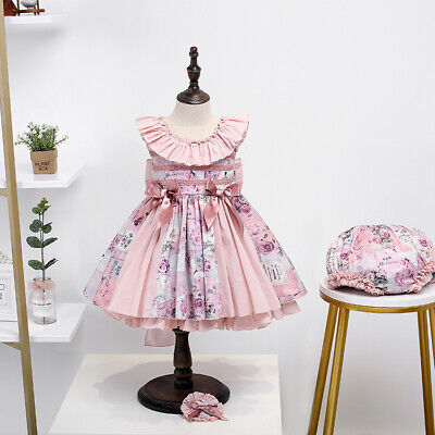 Baby Girls Spanish Style Dress Ruffle Frilly Princess Party Tutu Outfit Set Pink • 27.99£