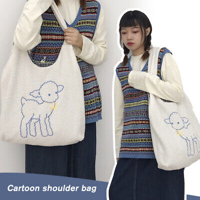 Women Cute Shoulder Bag Lamb Like Fabric Canvas Tote Large Capacity Embroidery • 9.99£