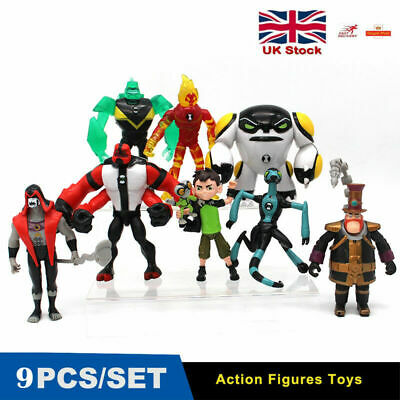 9Pcs Ben 10 Ben Tennyson Four Arms Grey Matter Heatblast Action Figures Kids Toy • 12.99£