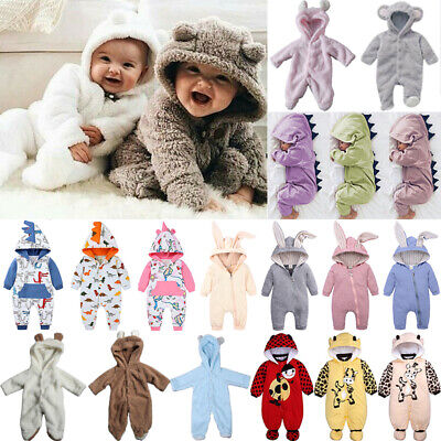 Newborn Baby Boy Girl Winter Hoodie Bodysuit Bear Fleece Jumpsuit Romper Outfits • 9.69£