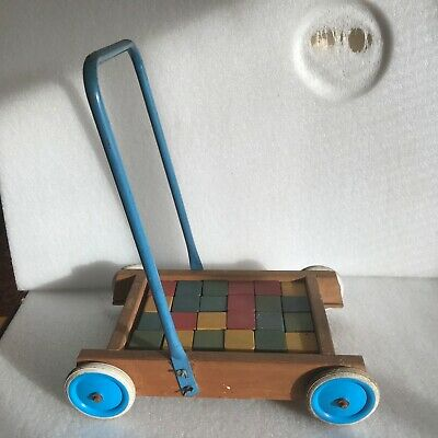 £45 • Buy Child's Vintage Push Along Trolly With Building Blocks