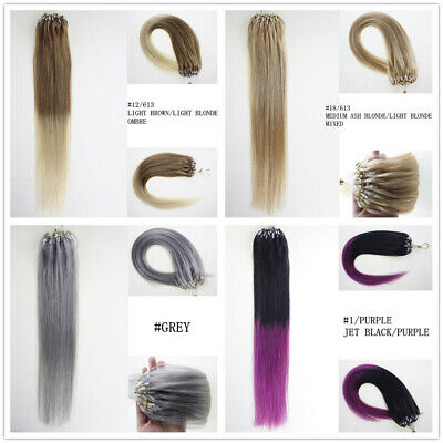 14 -26  Easy Micro Loop Beads Nano Ring Russian Remy Human Hair Extensions 100s • 31£