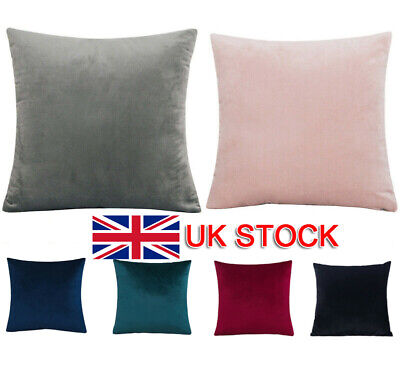 Plain Large Velvet Cushion Cover Pillow Case Home Sofa Decor 18  20  24  UK • 8.60£
