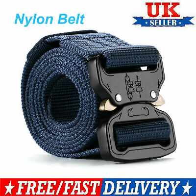 Men Outdoor Tactical Belt Canvas Nylon Magnet Buckle Military Training Army Belt • 3.99£