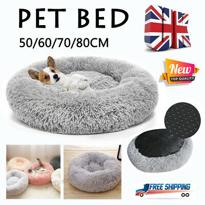 Warm Pet Dog Cat Calming Beds Comfy Round Fluffy Bed Nest Mattress Donut PadS-XL • 21.98£