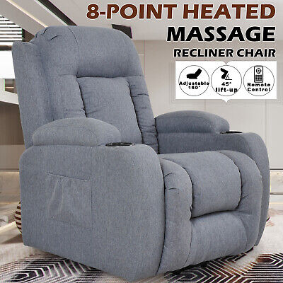 AU659.90 • Buy 8 Point Heated Massage Chair Electric Recliner Lift Chair Sofa Fabric Seating