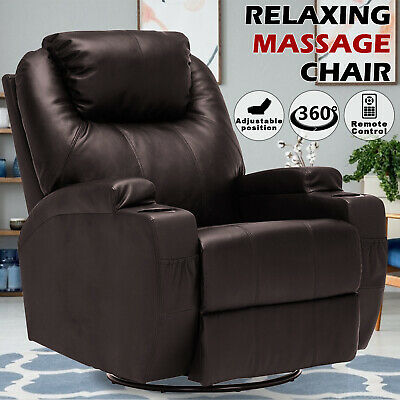 AU439.90 • Buy 8 Point Heated Massage Chairs Electric Recliner Chair Lounge Leather Sofa Brown