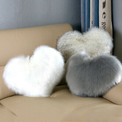 Love Heart Shape Fluffy Plush Cushion Cover Faux Fur Pillow Case Sofa Home Decor • 7.99£