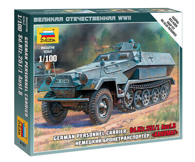 AU7 • Buy Zvezda Models 1/100 (Snap-Fit) German Personnel Carrier Sd.Kfz.251/1 Ausf.B