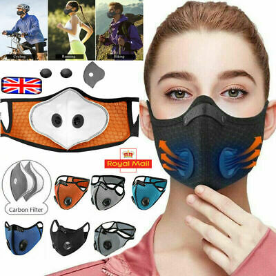 Reusable Washable Anti Pollution Face Mask PM2.5 Two Air Vent With Filter UK • 3.89£