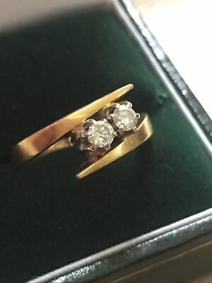 Stunning Quality 18ct Gold 2 Diamond Ladies Modernist Style Ring Size L 4g • 165£