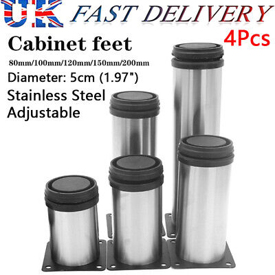 4x Adjustable Cabinet Legs Stainless Steel Furniture Feet Rounds Stand Support • 12.55£