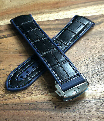 Omega Watch Strap Leather Rubber 22mm Black Blue Mens Deployment Buckle Band • 44.99£
