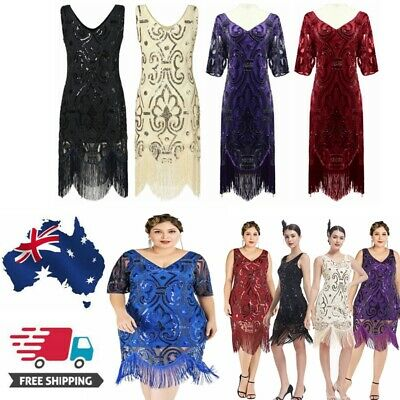 AU24.59 • Buy 1920s Flapper Dress Vintage Women Gatsby Sequins Fringeds Cocktail Party Dresses