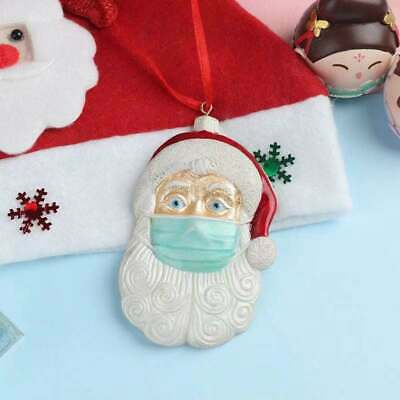 Christmas Tree Ornaments 2020 Santa Wearing Mask Hanging Peadant Decor  • 2.99£
