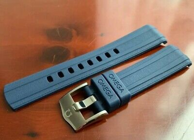 Omega Watch Band Blue Strap + Buckle Mens Rubber 20mm Seamaster 300 Co Axial • 39.99£