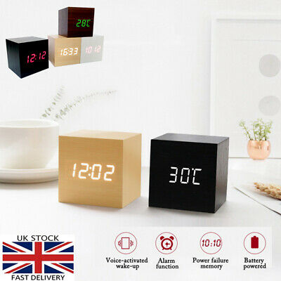 Wooden Wood Digital LED Alarm Clock Desk Voice Control Calendar Thermometer USB • 9.95£