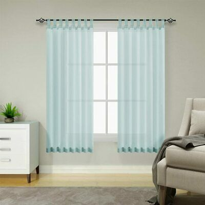 Topick Blue Voile Sheer Curtains Tab Top 2 Panels 54  Wide 84  Drop B3 • 19.99£