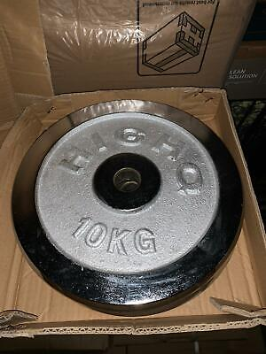 1 Inch Cast Iron Weight Plates - 2 X 10kg (Total 20kg) Brand New Gym Free P&P • 64.99£