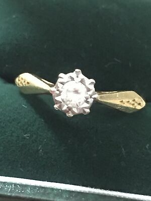 Stunning Vintage 18ct Gold Diamond Solitaire Ring Size M • 128£
