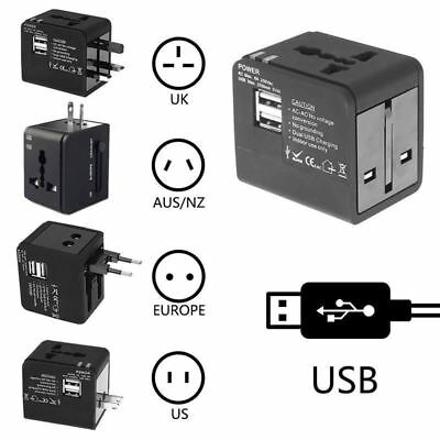 AU11.48 • Buy Universal Travel Electrical Adapter Dual 2.1A USB Plug International UK US EU AU