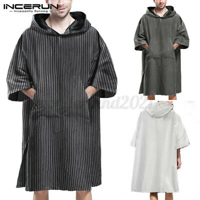 100%Cotton Men Loose Surf Beach Bath Poncho Changing Robe Hoodies Tunic Gown Top • 12.98£
