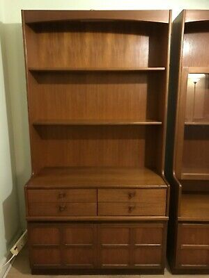 Nathan Mid Century Teak Wall Unit Book Case Cabinet RETRO • 20£