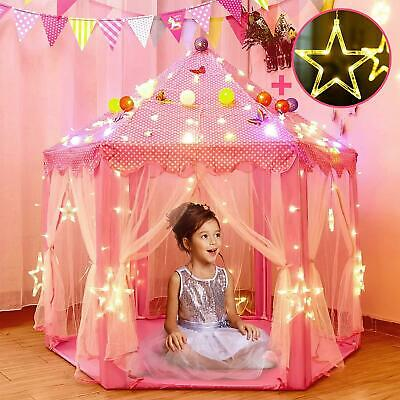 Princess Tent For Girls With Large Star Lights, Kids Play Tents Toys For Fairy • 32.47£