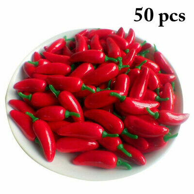 Artificial Foam CHILLI Spices Red Spicy Fake Vegetable Accessories Pepper 50pcs • 5.30£