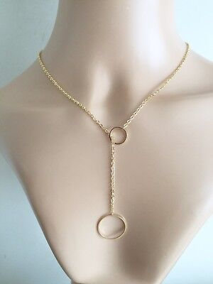 Infinity Karma Necklace Double Circle Lariet Stye 16 Carat Gold Plate Gift UK  • 5.99£