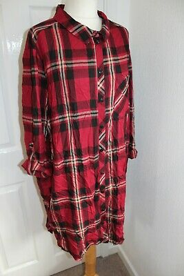 Ladies Red Check Tartan Roll Tab Sleeve Button Up Shirt Dress Size 20 • 10.99£