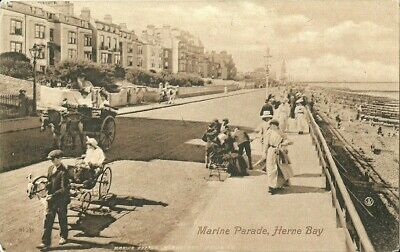 Herne Bay Marine Parade Boy With Young Girl In Ram Pulled Carriage 1916 Valentin • 13.50£