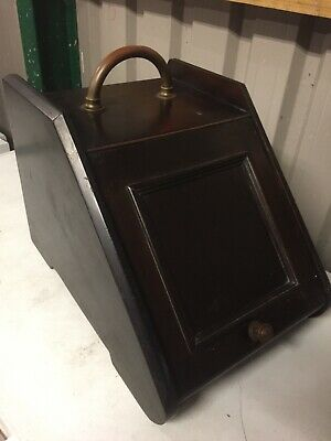 Antique Mahogany And Brass Coal Scuttle Shovel Liner  • 55£