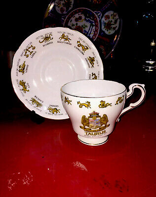 Regal Bone China Signs Of The Zodiac Tea Cup & Saucer Taurus Made In England • 15.39£