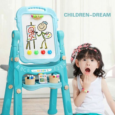 Children Magnetic Drawing Board Easel Double Sided Folding Kids Doodle Sketchpad • 21.99£