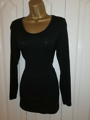 M&S HEATGEN Black Longline Thermal  Top Size 16 14 12 • 6.29£
