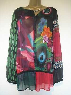 Desigual Sheer Floral Blouse/top Size XL 16? • 9.99£