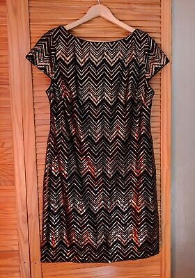 Jessica Howard Gold And Black Sequin Cocktail Dress Size 12 • 8£