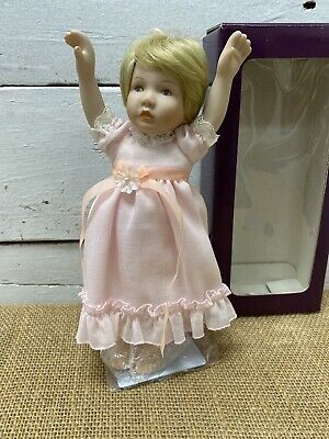 """$ CDN10.52 • Buy Porcelain And Cloth Baby Girl Doll With Stand 9"""""""