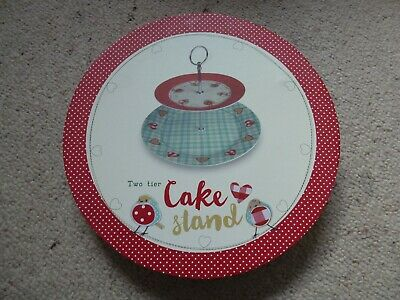 2 Tier Hearts & Robins Cake Stand - New In Box • 8.99£