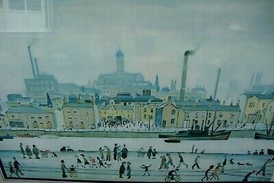 Lowry Print Picture Northern River Scene Stainless Steel Framed Under Glass  • 95£