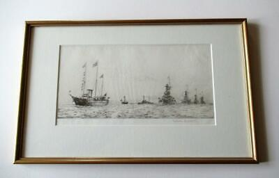 ORIGINAL ETCHING By Rowland Langmaid. The Fleet Review. Signed & With Blindstamp • 225£