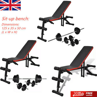 Exercise Weight Bench Sit Up Adjustable With Barbell And Dumbbell Set Home Gym • 127.89£