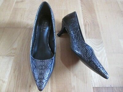 Next Black Pewter Slip On Kitten Heel Court Shoes Size 4 Eu 37 Brand New Tags • 15.99£